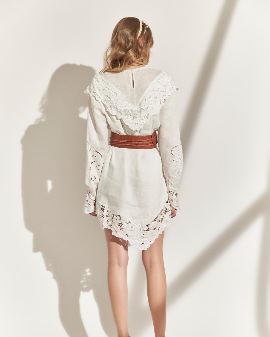 BELTED LINEN DRESS OFF WHITE