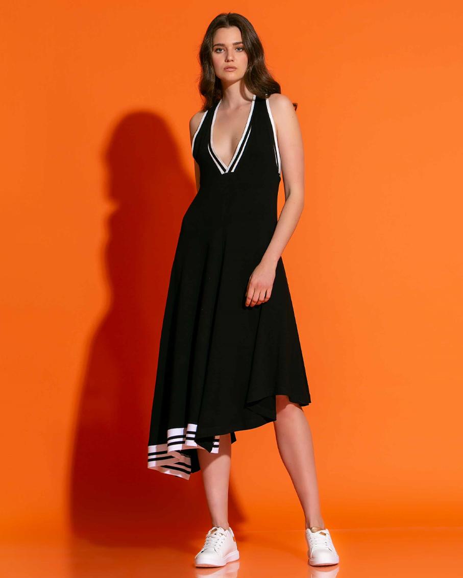 CRISSCROSS OPEN BACK DRESS BLACK