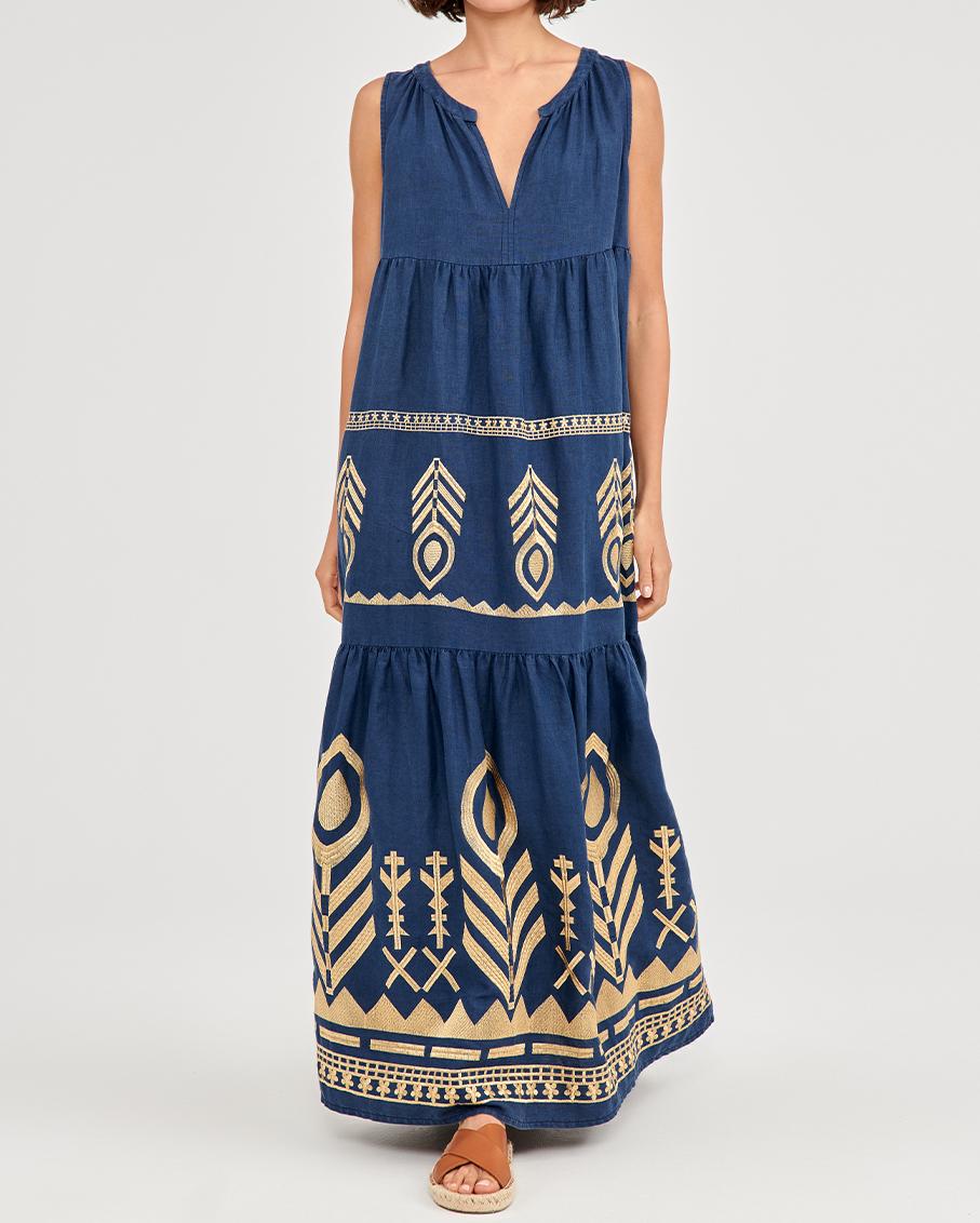 LOND SLEEVELESS DRESS BLUE NAVY/GOLD
