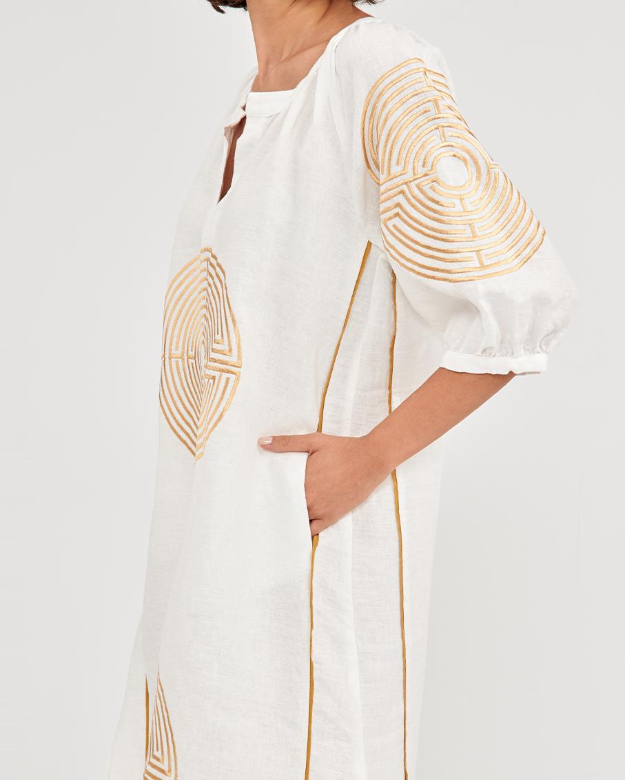 LONG DRESS MAZE BELT WHITE/GOLD