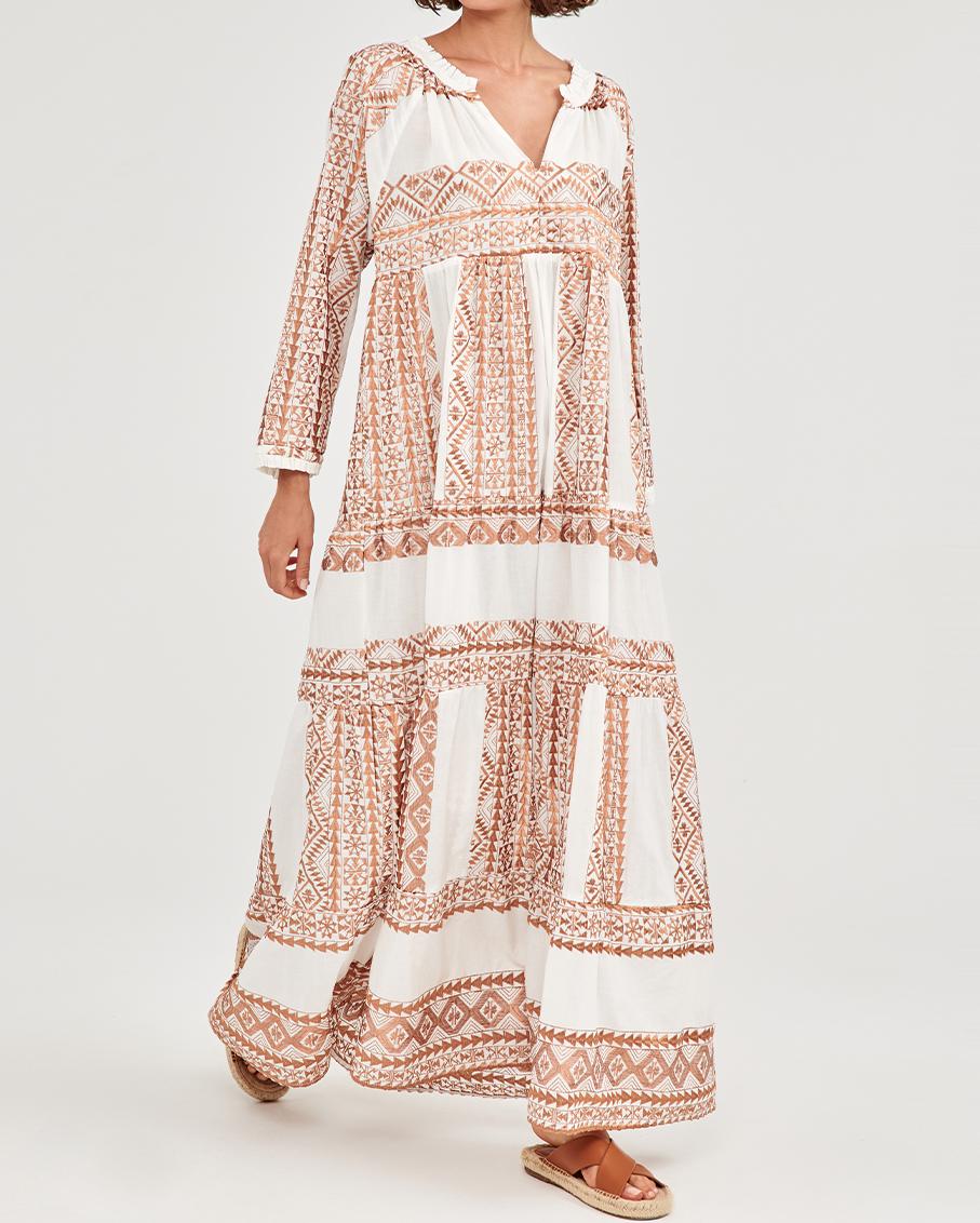 LONG DRESS WHITE/BRONZE