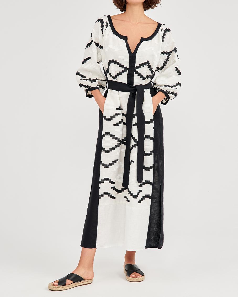 LONG DRESS WHITE/WHITE-BLA