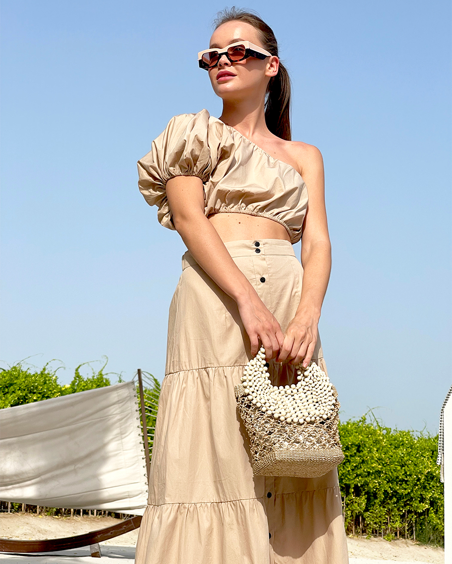 ONE SHOULDER PUFF SLEEVE CROP WITH TIERED BUTTON DOWN MAXI SKIRT SET SAND