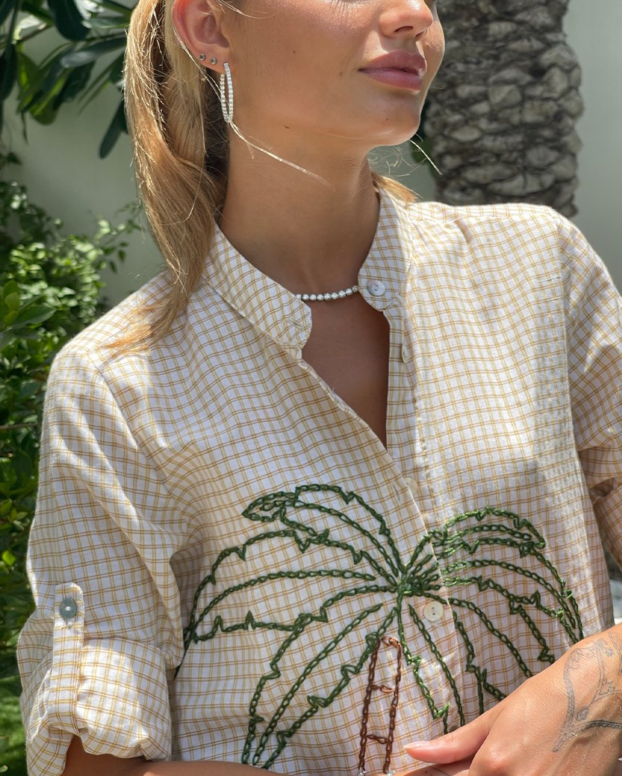 PALM LONG SHIRT THREADED COTTON FABRIC WITH HAND EMBROIDERY