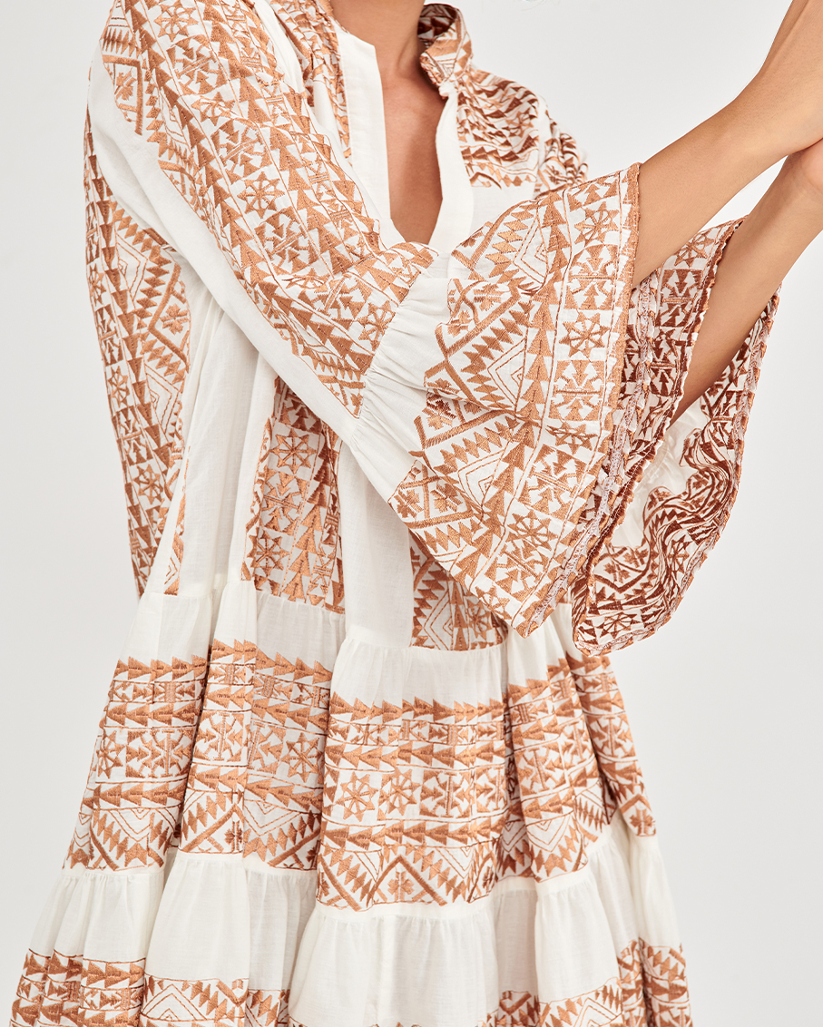 SHORT DRESS WHITE/BRONZE