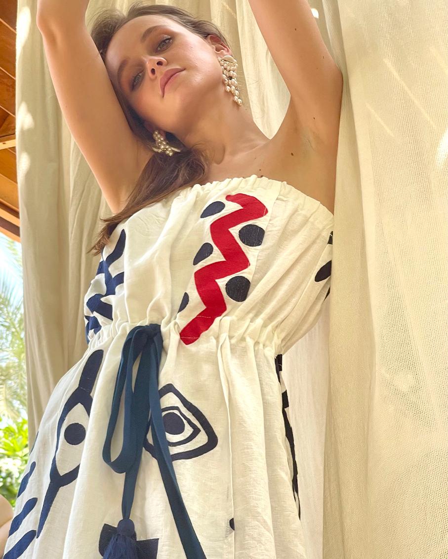 STRAPLESS DRESS WHITE/BLUE NAVY