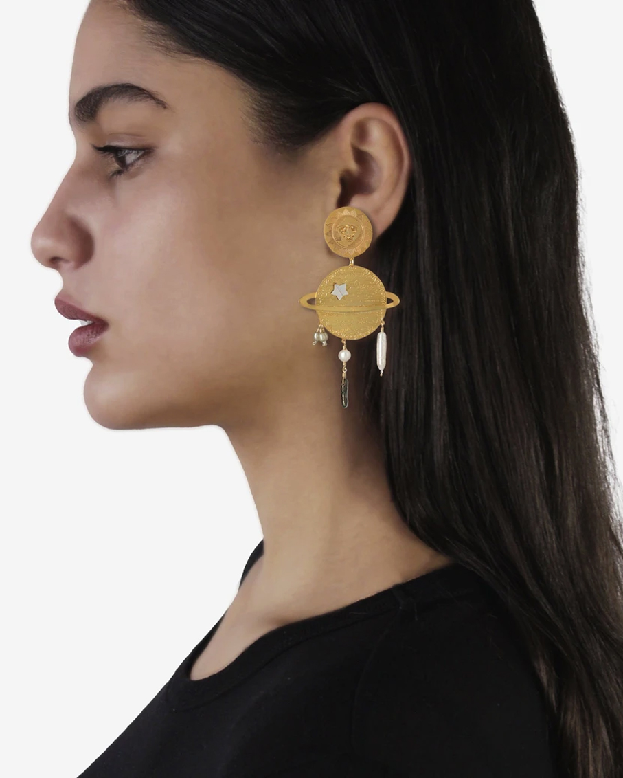 SATURN AND SUN EARRINGS 100% PLATED BRASS