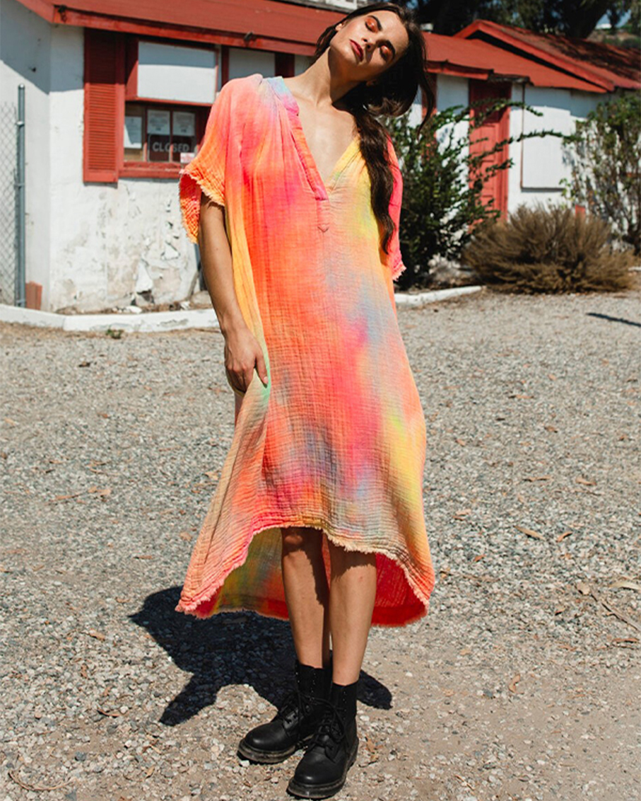 TUNISIA LIGHTWEIGHT GAUZE NEON TIE DYE CAFTAN DRESS
