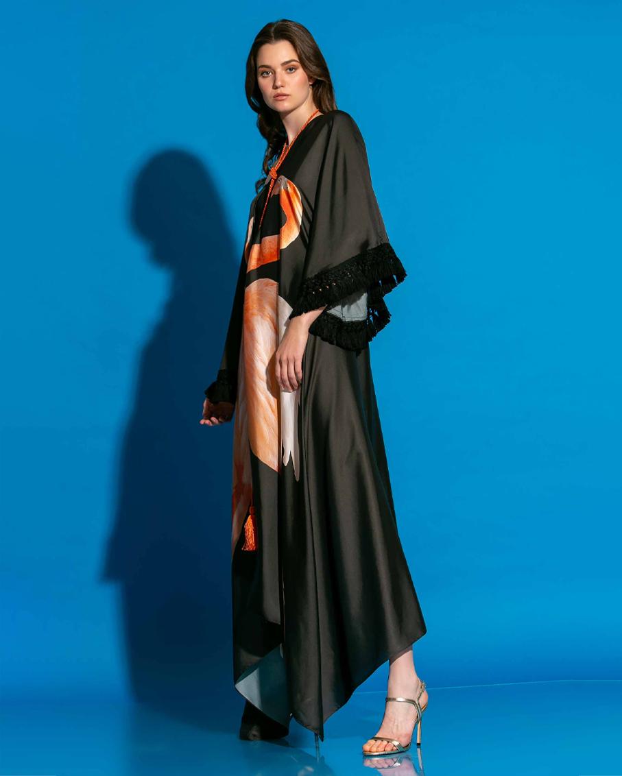 TASSEL EMBELLISHED BLACK FLAMINGO PRINTED MAXI DRESS