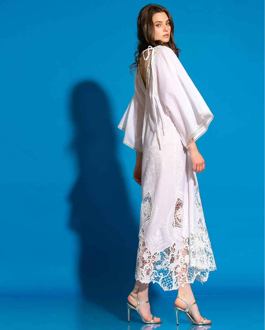 VOILE EMBROIDERY LACE KAFTAN/DRESS OFF WHITE