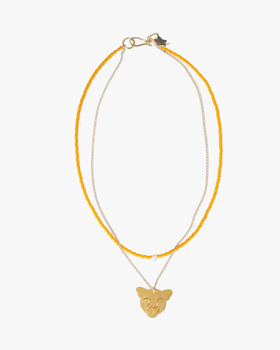 YELLOW JAGUAR NECKLACE 100% PLATED BRASS