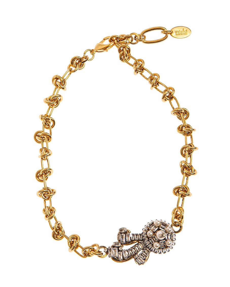ANTIQUE GOLD AND CRYSTALS NECKLACES