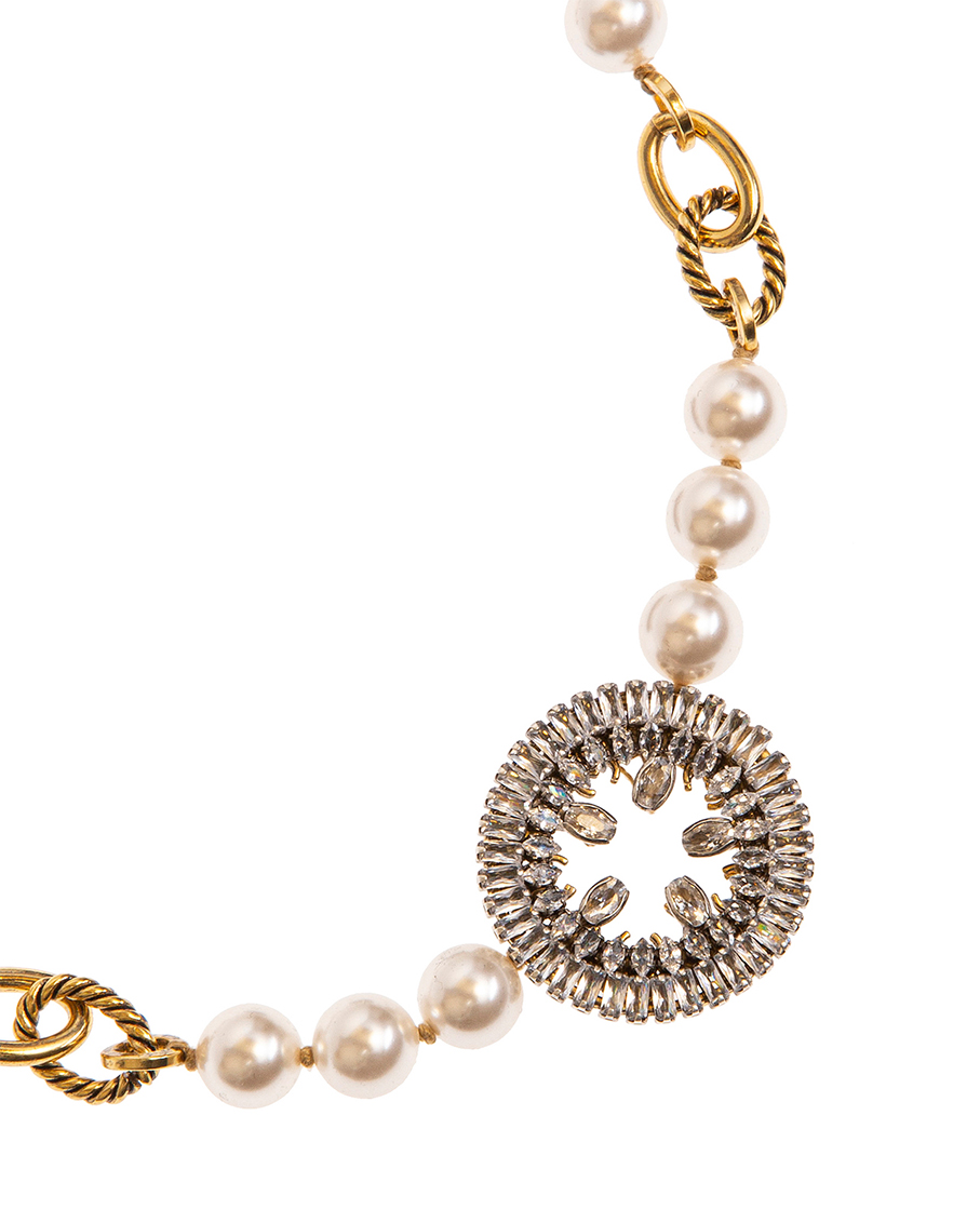 ANTIQUE GOLD PEARL AND CRYSTALS NECKLACES