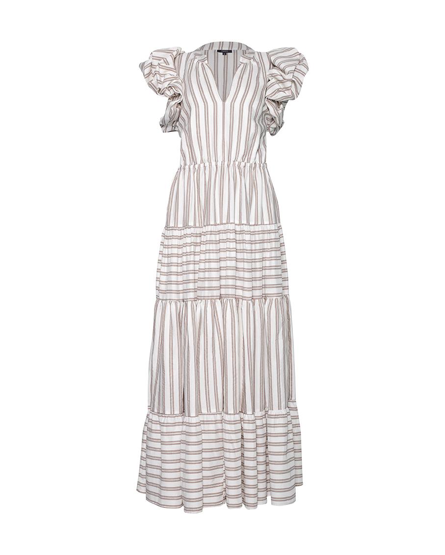 CARLOTA DRESS STRIPPED WHITE AND BEIGE