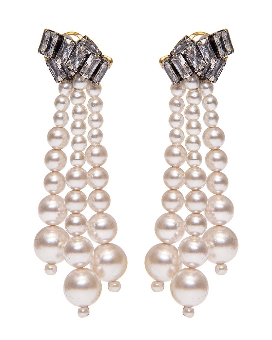 CLEAR CRYSTAL AND PEARLS CLIP WITH PIN EARRINGS
