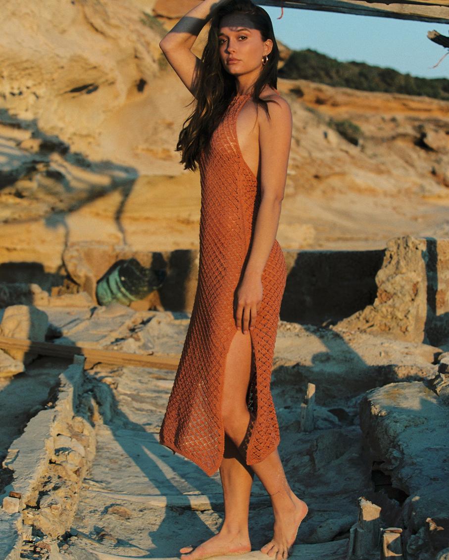 CORNELIA CROCHET OCRE DRESS