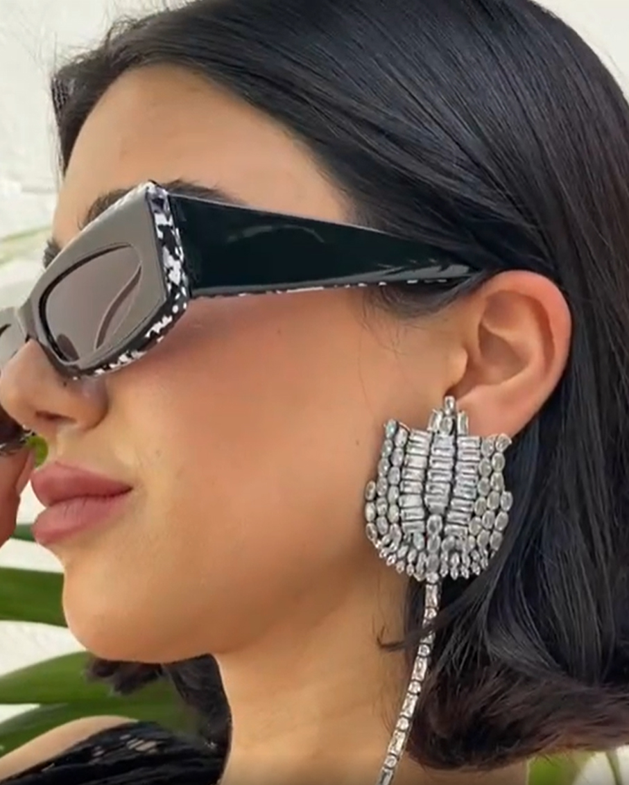 CRYSTAL CLIP WITH PIN EARRINGS