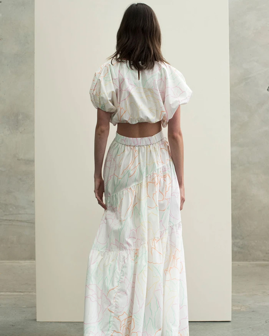 CROPPED TEE WITH DRAWSTRING TIERED SKIRT FREEDOM FLORAL SET