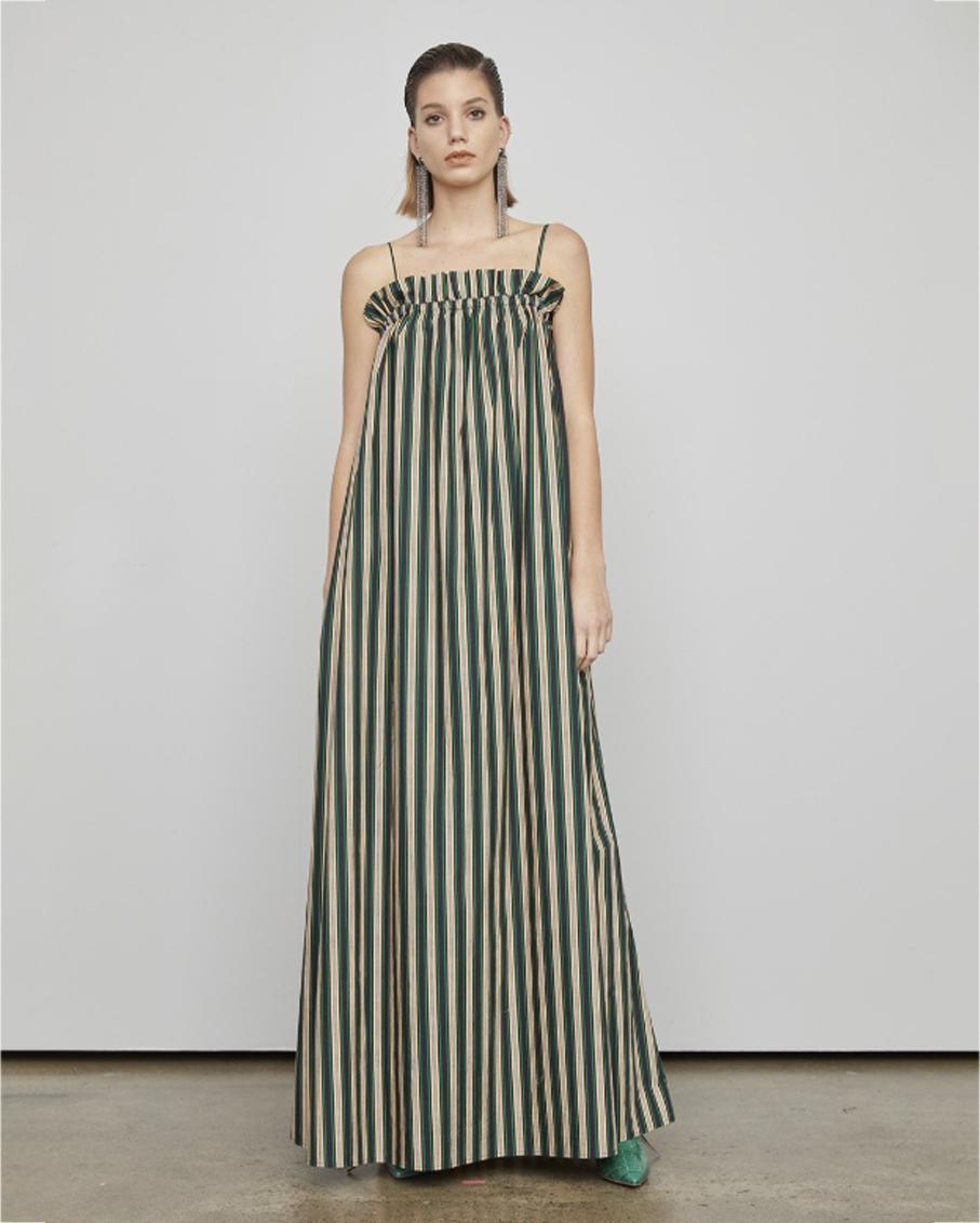 THE GALAXY DRESS IVY PEACH STRIPE
