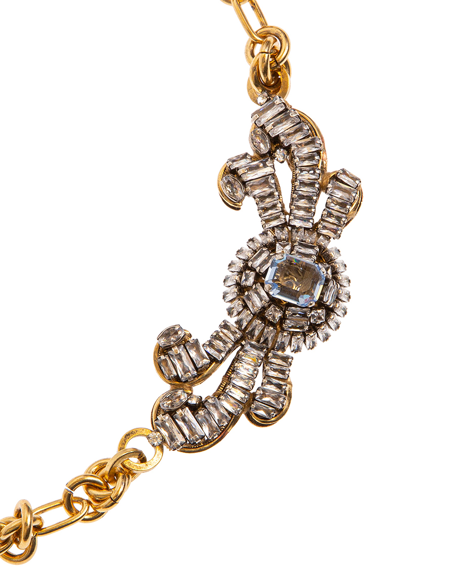 GOLD ANTIQUE/ STRASS-STONES CLEAR NECKLACES