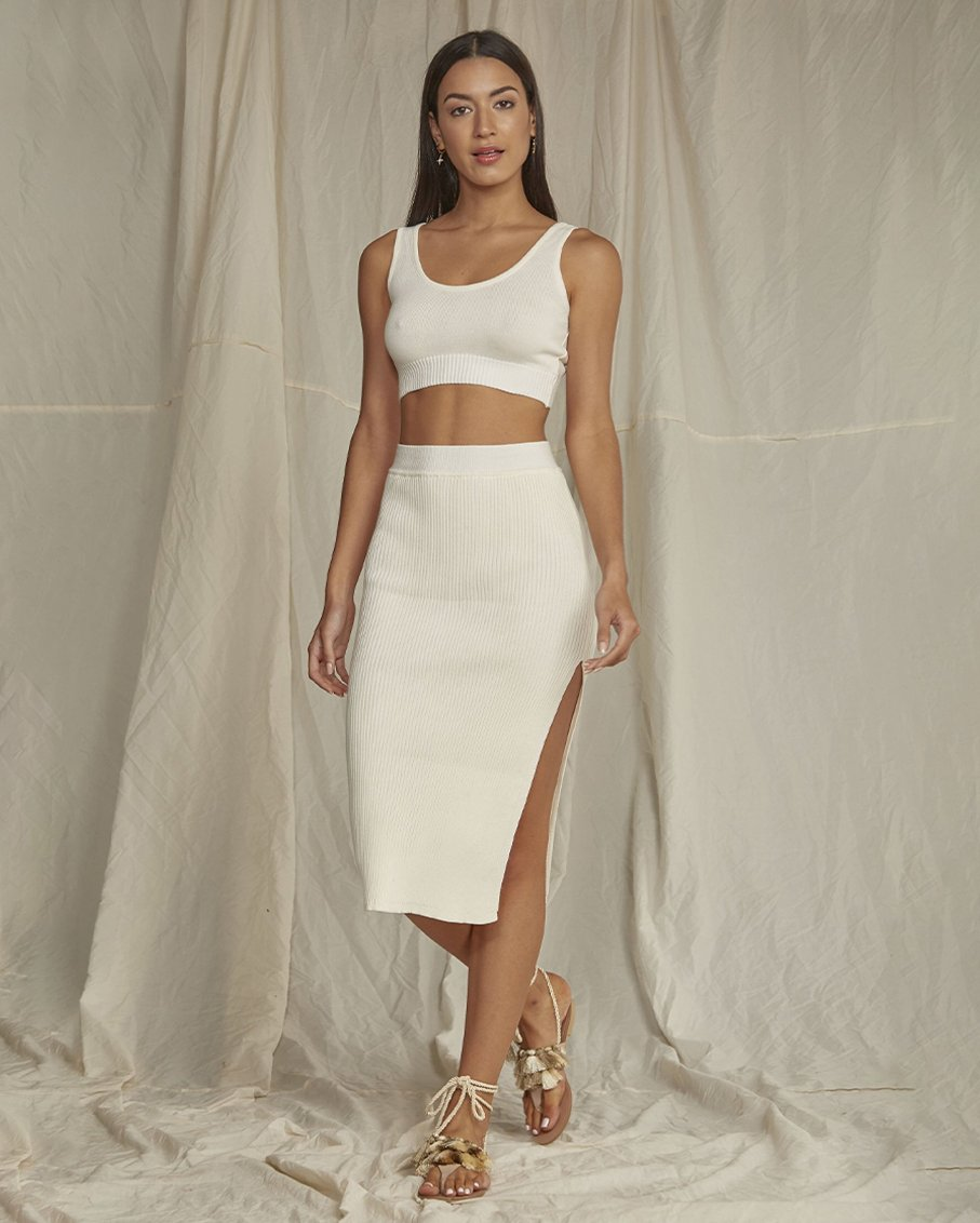 TOP AND SKIRT OF CROCHET LUCERO IVORY SET