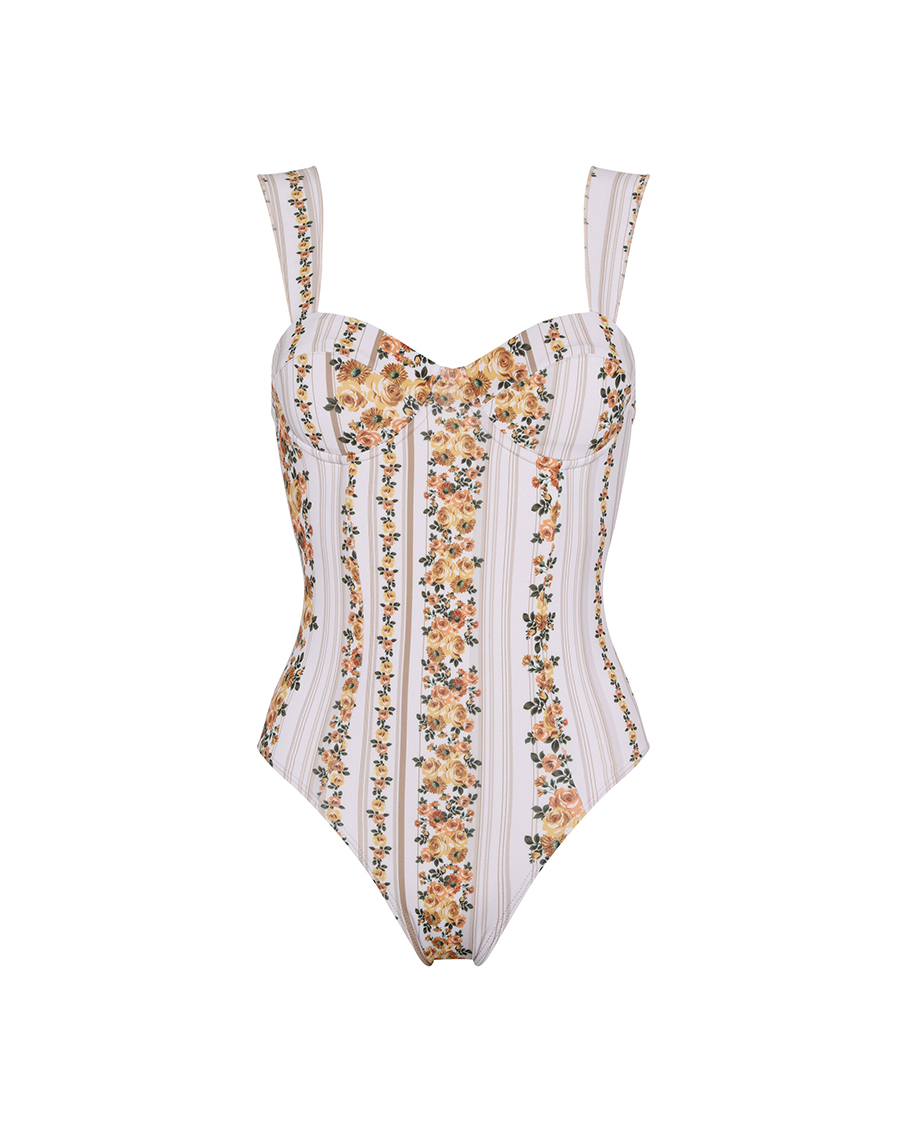 MERCEDES STRIPPED FLOWERS SWIMSUIT