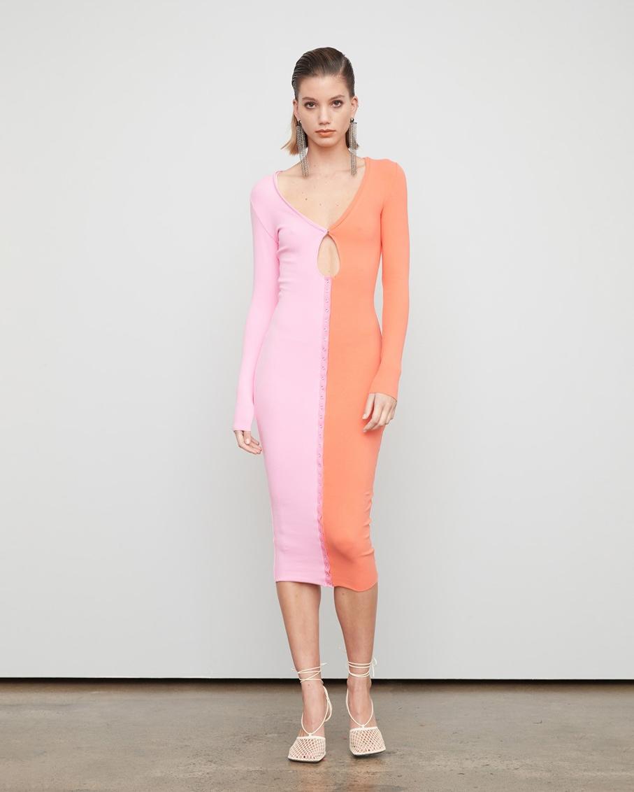THE SATURN DRESS SUNSET ROSE