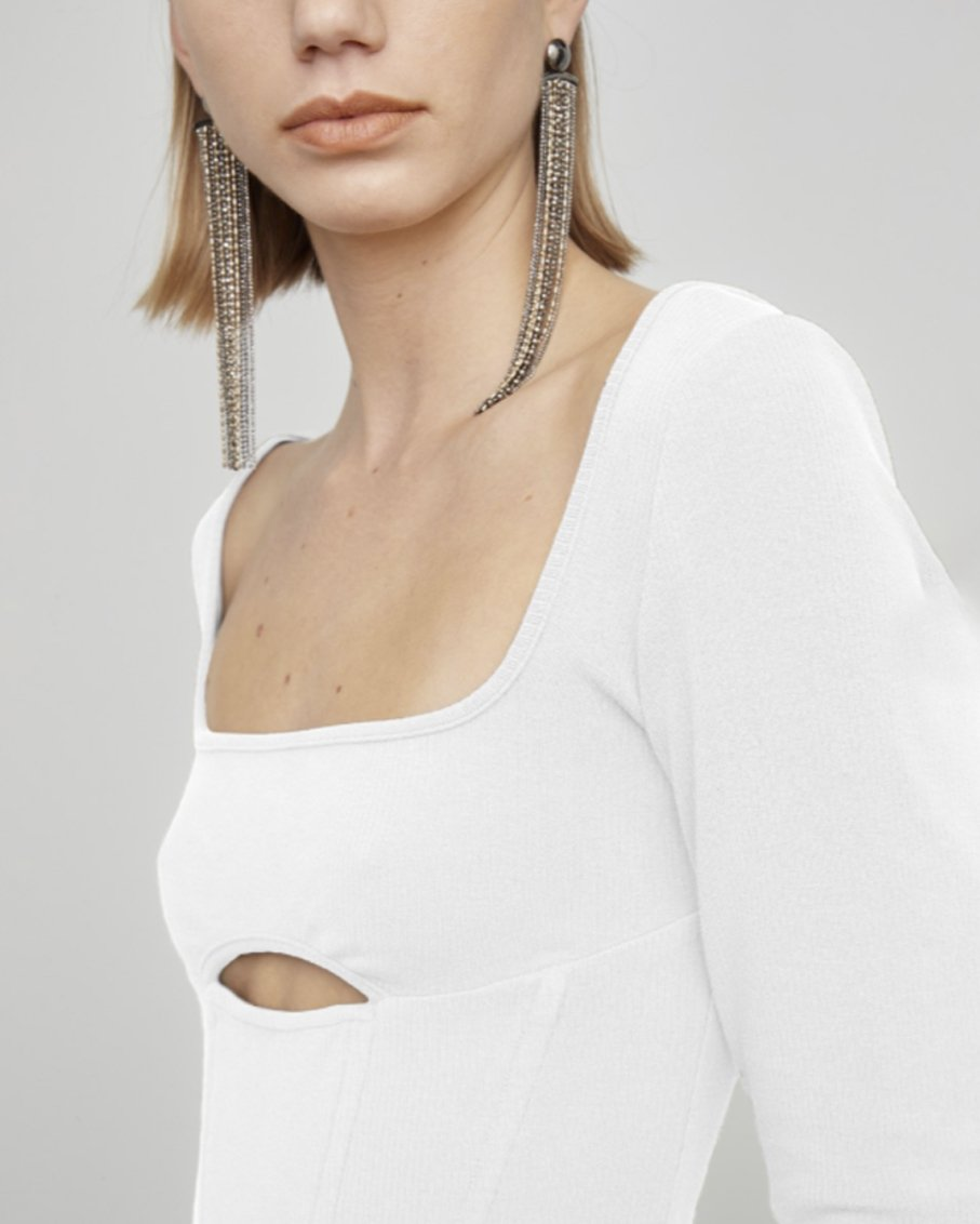 THE ALPHA LONG SLEEVE CROP WHITE