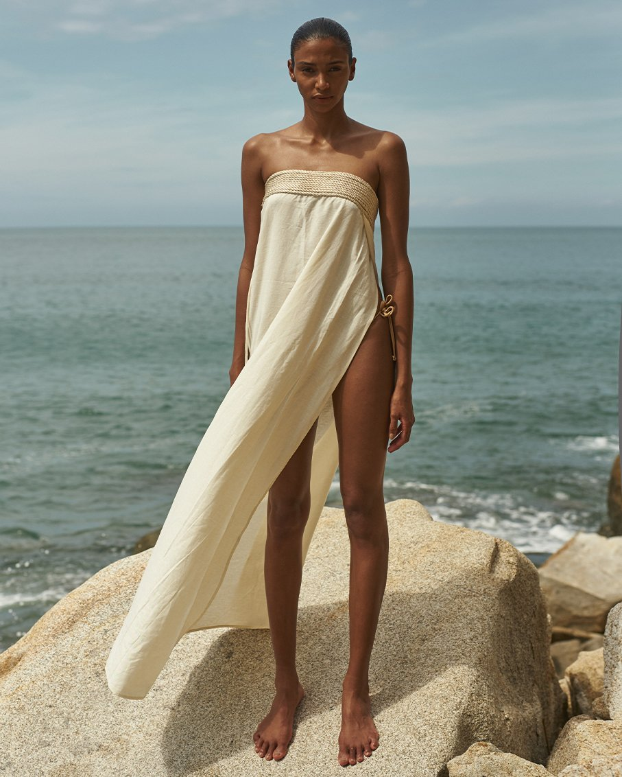 ARENA LINEN COVER UP DRESS IVORY