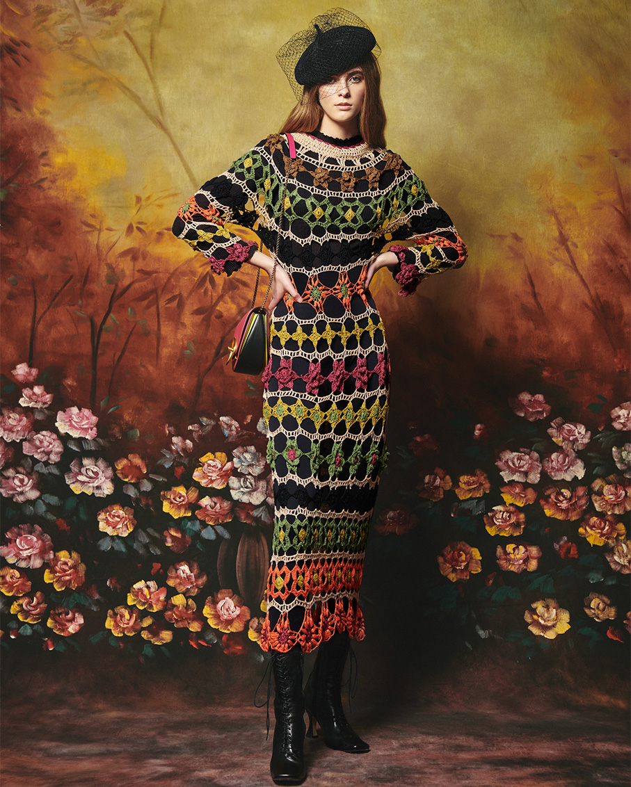 BARLEY DRESS WITH HAND CROCHET DETAILS MULTI