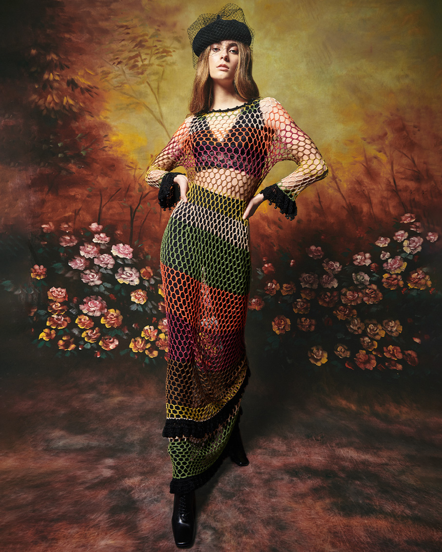 BAMBOO DRESS HAND CROCHET WITH BEADS DETAILS MULTI