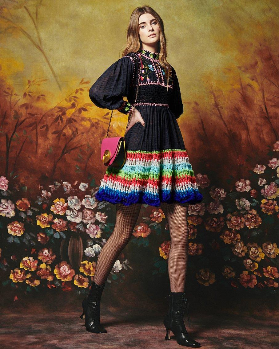 SCARLETT DRESS HAND EMBROIDERY COTTON HAND CROCHET PANEL BLACK