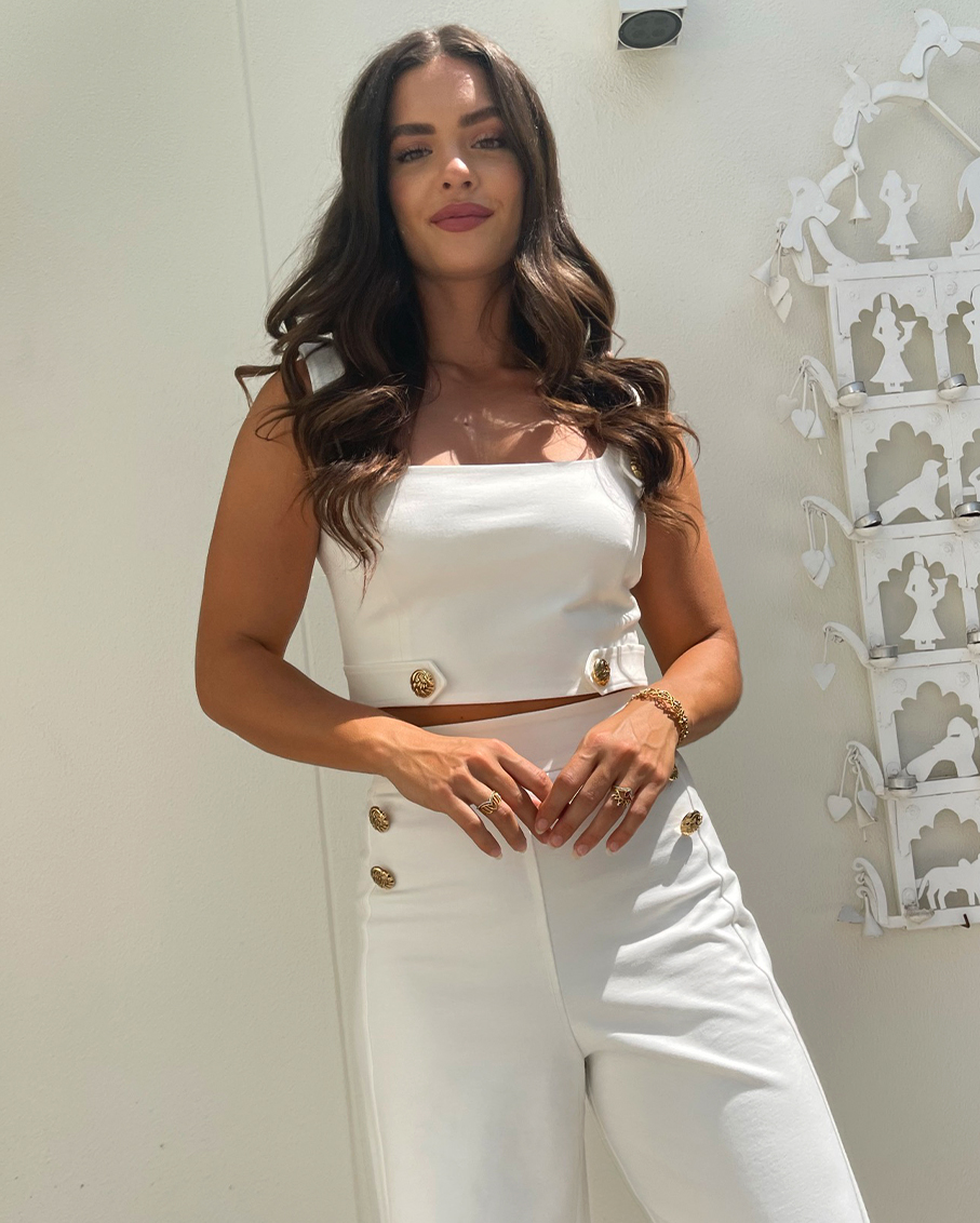 WHITE CROP TOP AND TROUSERS SETS- GOLD BUTTON DETAILED