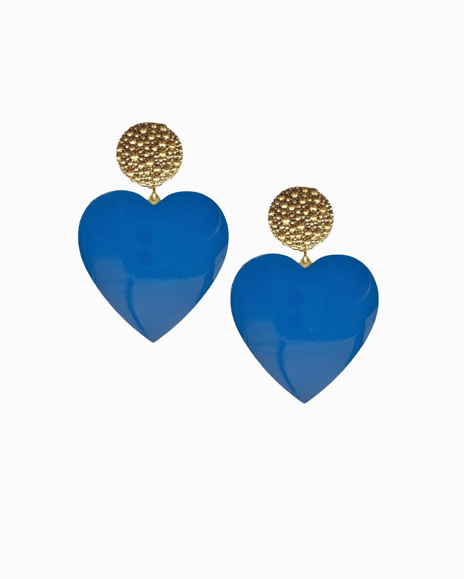 APHRODITE DENIM BLUE HEART EARRINGS