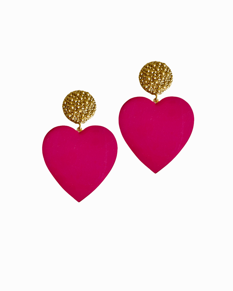 APHRODITE HOT PINK HEART EARRINGS