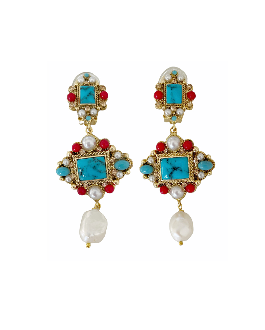ATHYNA 3TIERS SEMI PRECIOUS STONES EARRINGS 3 CORAL COLOR