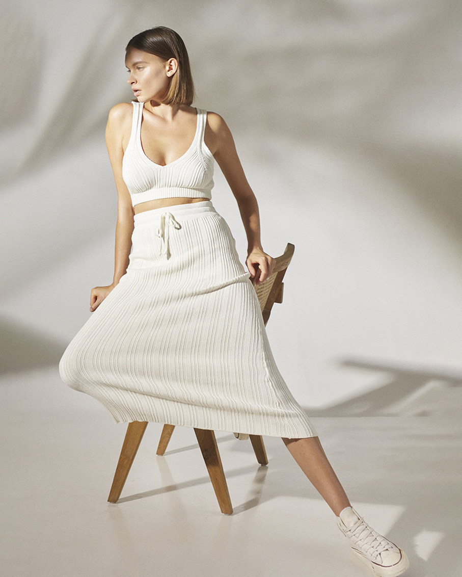 NA SKIRT WITH AVERIE CARDIGAN & MABEL BRA TOP 3 PIECES OF SET OFF WHITE