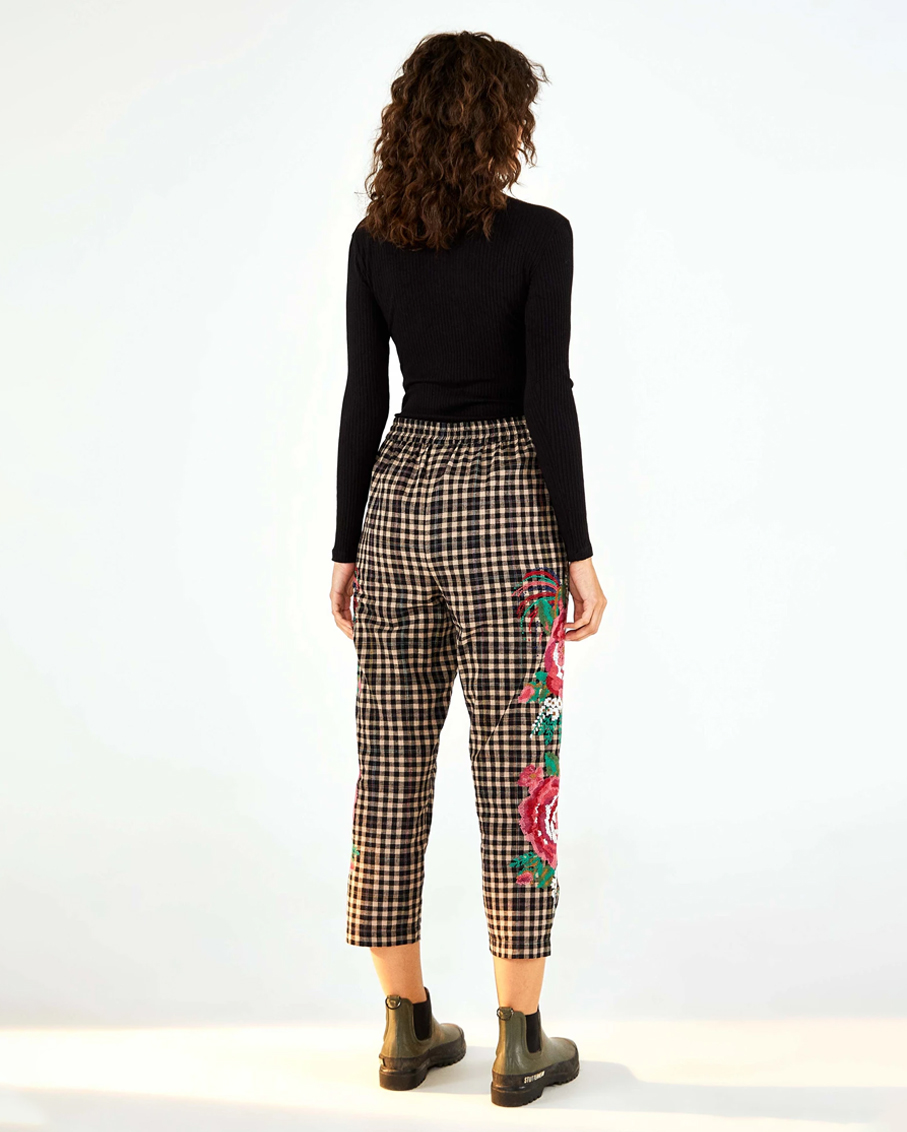ROOSTER CROSS STITCH EMBROIDERED PANTS BLACK & WHITE